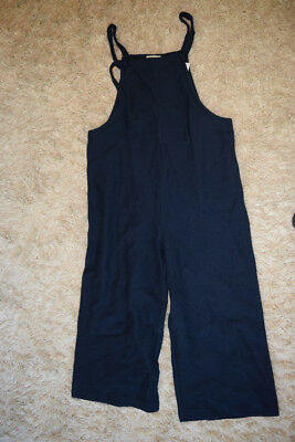 b876e4a94d9 Madewell  98 Texture   Thread Tie-Strap Overalls Wide-Leg Size M Navy H8193