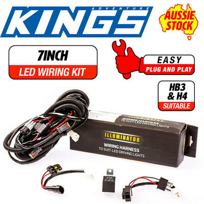 LED Driving Light Wiring Harness Fits 7inch Round Lights Kings Plug & Play