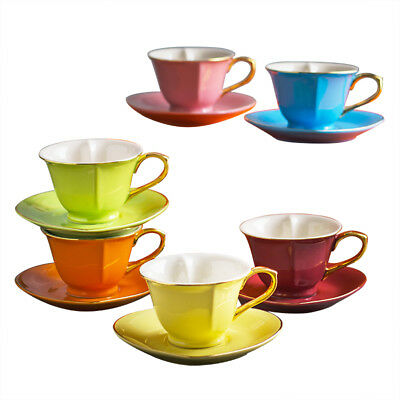 12-piece Heart Shape Espresso Coffee Mug & Saucer Set w/Box Great Gift for Lover