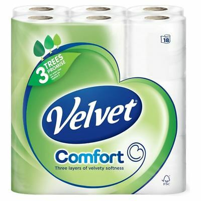 Velvet Triple Layer White Toilet Tissue - 200 Sheets per Roll (18) - Pack of 6