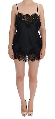 12bc1c0a645b8 NEW  1200 DOLCE   GABBANA Black Silk Lace Dress Lingerie Chemise s ...