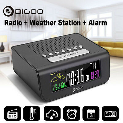 Digoo Digital Dual Alarm Clock FM Radio Weather Forecast Humidity Temperature
