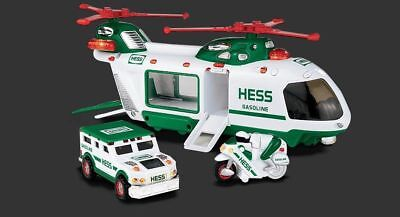 2001 HESS TOY TRUCK HELICOPTER WITH MOTORCYCLE AND CRUISER - NIB-W/Bag!