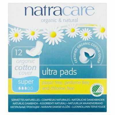 Natracare Organic Natural Ultra Super Pads 12 per pack (PACK OF 6)