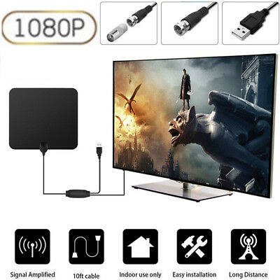 100Mile Indoor TV Digital HDTV Antenna with Signal Amplifier Booster Fox 4K Flat
