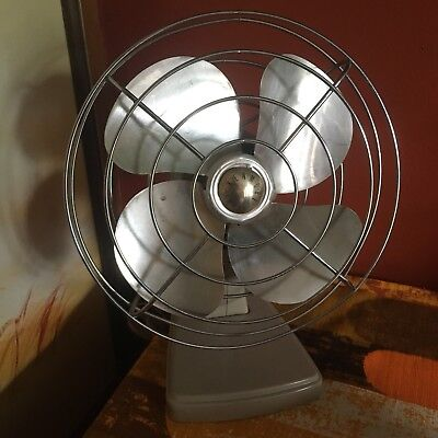 Vintage Metal Industrial Kenmore Beige Desktop Fan Steampunk Funky Works