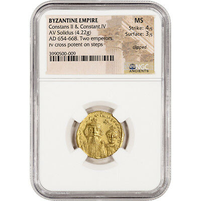 AD 654 - 668 Byzantine Empire Constans II Con IV AV Solidus Ancient Gold  NGC MS