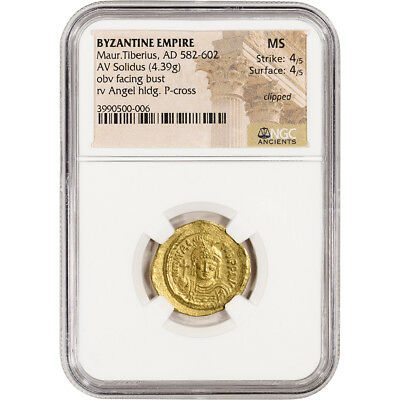 AD 582 - 602 Byzantine Empire Maur. Tiberius AV Solidus Ancient Gold Coin NGC MS