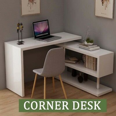 Straight/L-Shape Corner Table Home Study Office Desk Computer With Shelves Weels