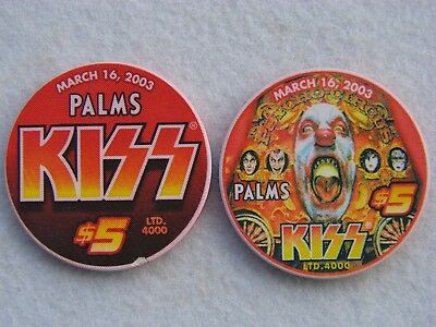 PALMS Hotel & Casino * 2 x 5$ Poker Chip * Las Vegas * KISS * Rock