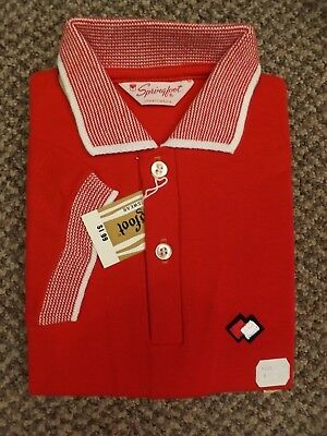Sporty Rockabilly Vtg 1950s NEW NOS Red 100% Cotton Summer Polo Shirt Boys Sz 6