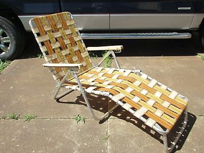 Excellent Aluminum Folding Webbed Chaise Lounge Lawn Chair Brown Squirreltailoven Fun Painted Chair Ideas Images Squirreltailovenorg