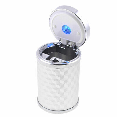 Blue LED Lamp Silver Tone Cylinder Shaped Ashtray Ash Tray for Car