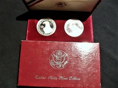 Silver Dollar Set United States Mint Proof Set Of Two No Reserve In Box & Cover!