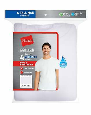 Hanes Crewneck T-Shirt 4 Pack Men's Tall ComfortSoft TAGLESS Classics Undershirt