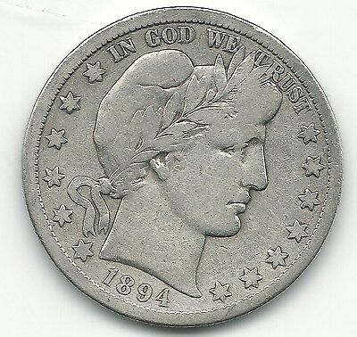 A Vintage Very Good/fine 1894 S Barber Silver Half Dollar-May079