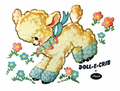 Vintage Image Lamb Amsco Doll-E-Crib Furniture Transfers Waterslide Decals AN839
