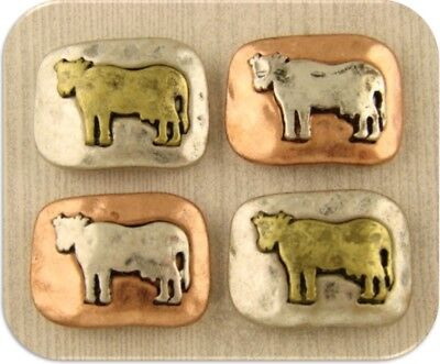 2 Hole Beads Horse Head Squares Farm Animal Rope Frame 4T Metal Sliders QTY 4