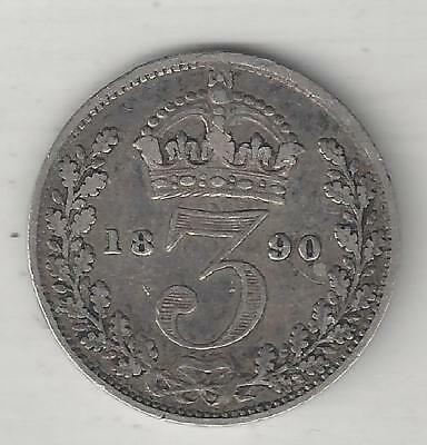 Great Britain,  1890,  3 Pence,  Silver,  Km#758,  Very Fine