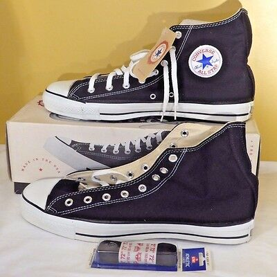 Vintage Converse Chuck Taylor All Star Black NIB Size 13 MADE IN USA Tags Intact