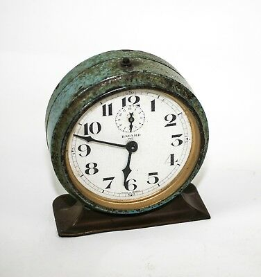 French Vintage Art Deco Alarm Travel Clock Bayard