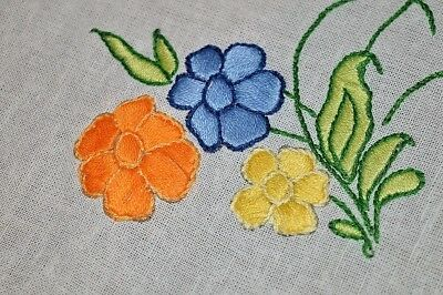 The Flowers Pop With Color! Vintage German Hand Embroidered Spring Tablecloth