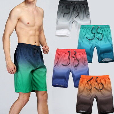 Fashion Mens Boy Comfortable Beach Shorts Quick-Drying Gradient Knee Shorts ILJ