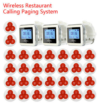 Wireless Restaurant Waiter Calling Paging System 999channels 30Pagers+3Receivers