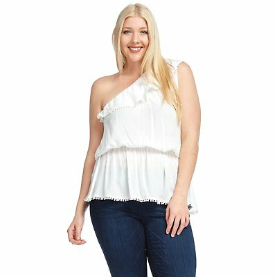 299ef01434123 HADARI WOMEN'S PLUS Size Casual One Shoulder Ruffle Blouse Top ...