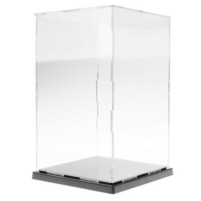 Acrylic Plastic Display Case with Black Base Self-Assembly Dustproof Protection