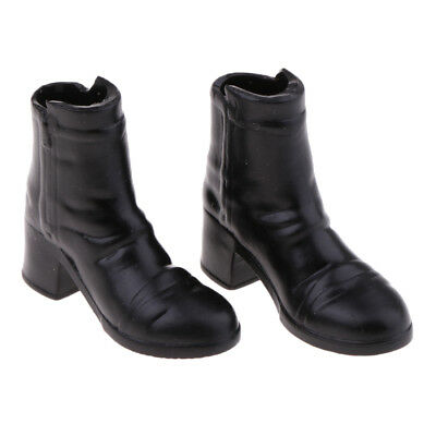 1/6 Scale Women's Black Mid-heeled Boots for 12'' Phicen Action Figure Doll