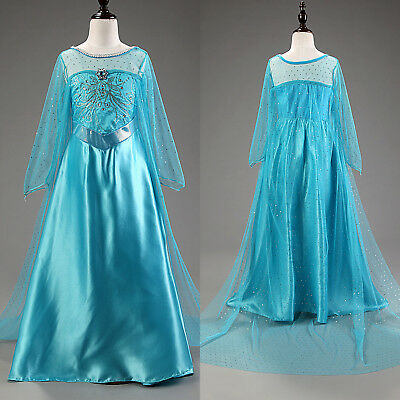 Frozen Princess Queen Elsa Cosplay Costume Party Fancy Dress Outfit Girl Toddler