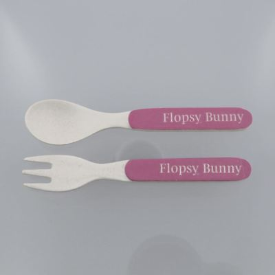 Beatrix Potter Pink Flopsy Childrens Fork and Spoon Set ECO FRIENDLY