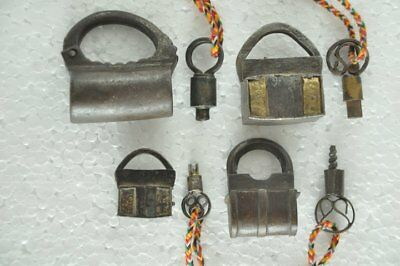 4 Pc Old Iron Handcrafted Solid Unique Screw System Padlocks , Rich Patina