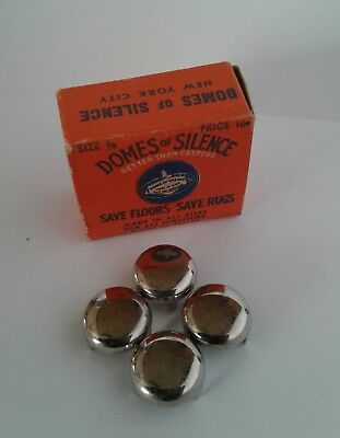 Vintage DOMES OF SILENCE Box of 4 CHAIR SLIDE CASTERS COMPLETE 5/8 Inch size