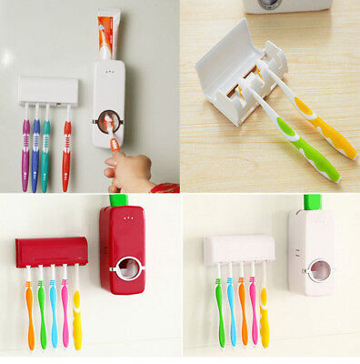 Automatic Lazy Toothpaste Dispenser + 5 Toothbrush Holder Set Wall Mount Stand Z