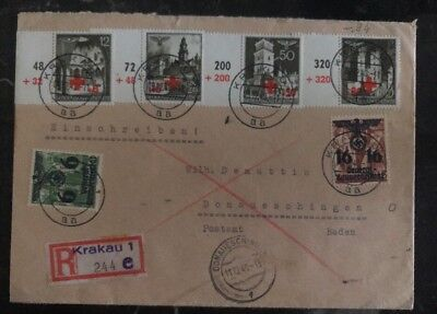 1940 Krakau GG Poland Germany Cover To Donaueschingen Redcross Stamps  #Nb 1-4