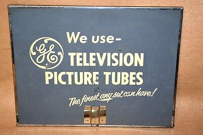 GE TV Television Repairman's Advertising Mirror w/Handle General Electric Tubes