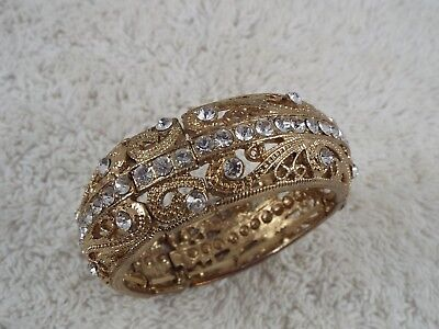 Filigree Goldtone Rhinestone Stretch Bangle Bracelet (D71)
