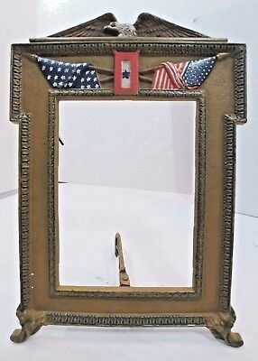 Antique Cast Iron American Flag Eagle Patriotic Hero Pic Photo Art Easel Frame