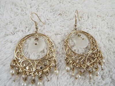 Filigree Goldtone White Bead Pierced Earrings (D71)