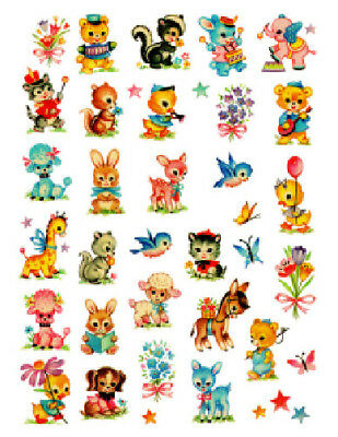 Vintage Image Nursery Tiny Baby Animals Dollhouse Transfers Shabby Decals AN536