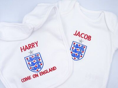 Personalised Embroidered COME ON ENGLAND WORLD CUP INSPIRED Baby BIB GROW VEST