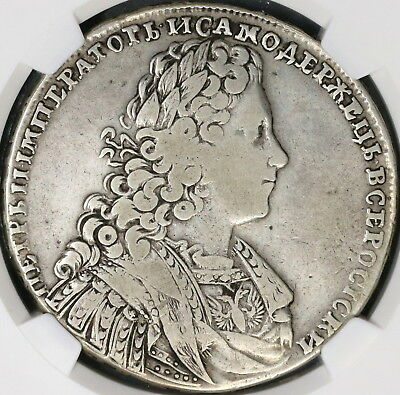 1728 NGC F 12 Peter II RUSSIA Silver Rouble Imperial Crown Coin (18030901C)