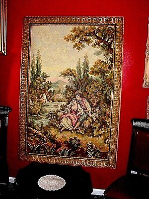 $800.00 HUGE Vintage French Tapestry: Romantic Love Pastoral Sheppard Courting