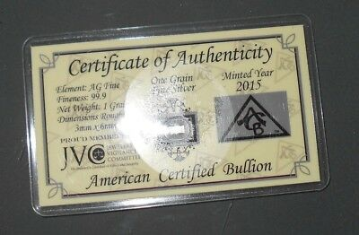2015 Acb Platinum Solid Bullion Minted 1 grain Bar 99. 9 Pure Certificate