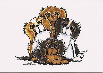 Andies Four Colors Cavalier King Charles Spaniel Note card
