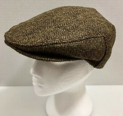 1755bded2a4 John Hanly Men s Newsboy Cap Hat Irish Wool Tweed Herringbone 7 3 8 Large