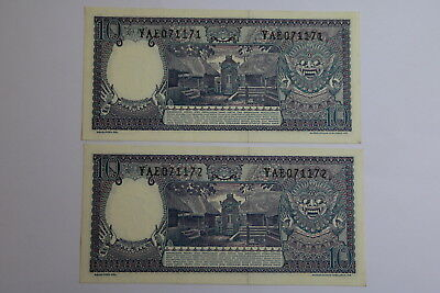 Indonesia 10 Rupiah 1963 - 2 Banknotes Consecutive Numbers A93 Rbk619
