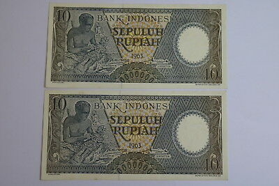 Indonesia 10 Rupiah 1963 - 2 Banknotes Consecutive Numbers A93 Rbk635